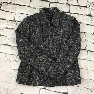 Jones New York Sz 8 Jacket Wool Blend Zip Blazer.